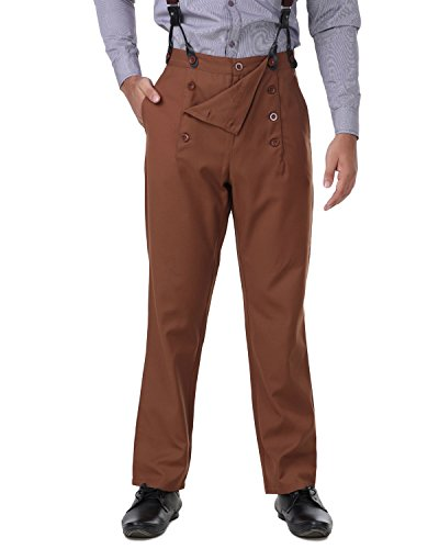ThePirateDressing Steampunk Victorian Cosplay Costume Architect Men's Pants Trousers C1328 - Chocolate (Poly Viscose Fabric) - Large