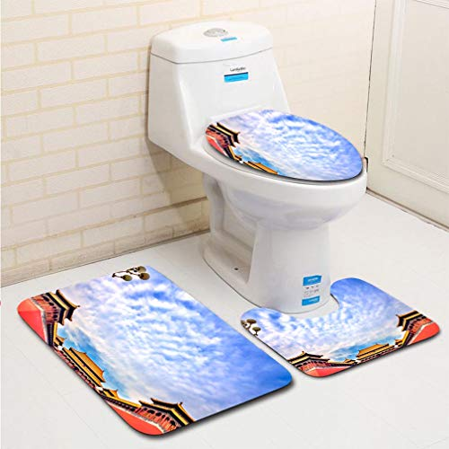 - MTSJTliangwan 3-Piece Bathroom Set, Bathroom Rug + Contour pad + lid Toilet seat, Meridian Gate Entrance Gugong Forbidden City Palace Beijing China Comfortable Flannel Rug