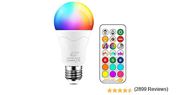 iLC Bombillas Colores RGBW 85W Equivalente LED Bombilla Regulable Cambio de Color Edison 12W E27 - RGB Control remoto Incluido