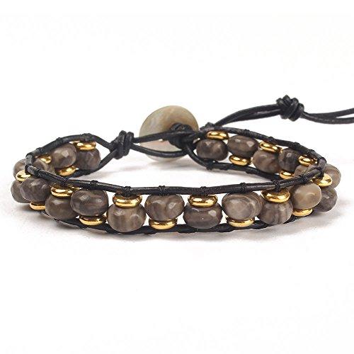 OAIITE Abacus Beads Turquoise Amazon Stone Beaded Bangle Handmade Bracelet (D)