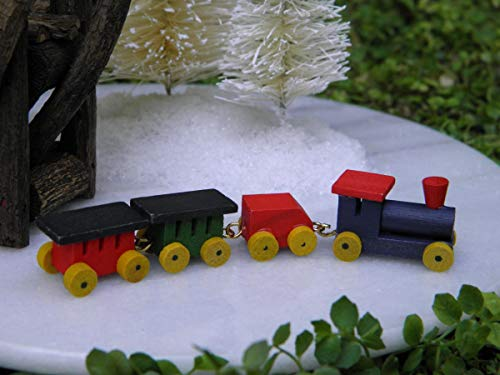 Miniature Dollhouse Christmas Village Fairy Garden ~ Tiny Wood Train Set ~ New from FOTOOLS