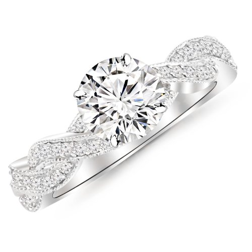0.65 Carat Twisting Designer Eternity Love Split Shank Diamond Engagement Ring With Milgrain 14K White Gold with a 0.37 Carat I-J VS1-VS2 Round Brilliant Cut/Shape Center -
