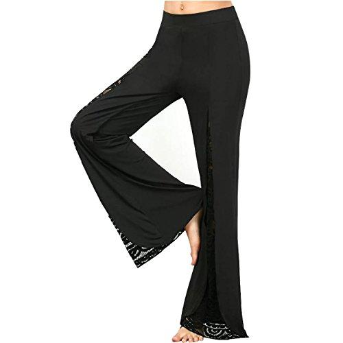 Frauen hohe Taille beiläufige Spitze-vorderen Schlitz-breiten Bein Palazzo faltete lange Hosen