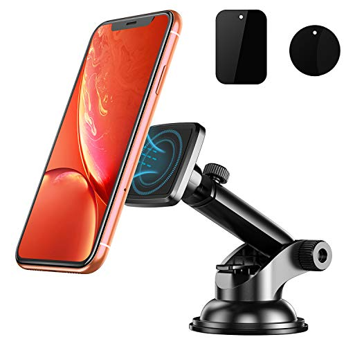 Pobon Car Phone Holder Magnetic, Universal Cell Phone Mount for Car Dashboard/Windscreen, Sturdy Secure with Sticky Suction Cup & Telescopic Arm, 360° Adjustable Cars Cradle for Almost All Smart Phones (Black)