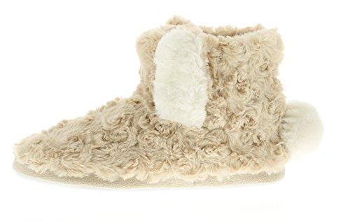 Damen NEUHEIT Winter Stiefelette Merkmale Hase Ohren zu dem mit Kunstpelz zu dem Ober Gepolstert Futter und Einlegesohle für extra Wärme und Komfort - beig