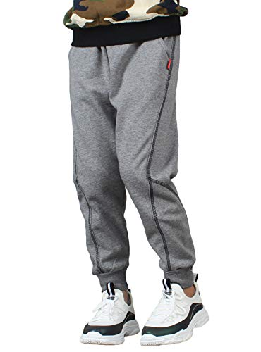 BASELE Boy's Grey Fashion Casual Cotton Sweatpants Slim Fit Athletic Drawstring Jogger Pants Size ()