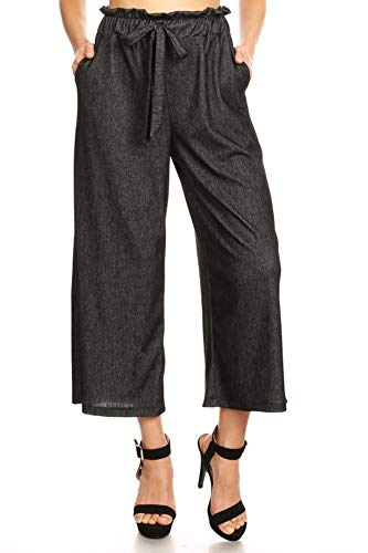 (ShoSho Womens Paper Bag Waist Cropped Pants Casual Wide Leg with Pockets Soft Brush Stretch Denim Navy Small)