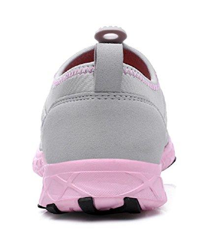 welltree Damen und Herren schnell trocknend atmungsaktiv Mesh leichte Slip auf Aqua Wasser Schuhe 2-rosa