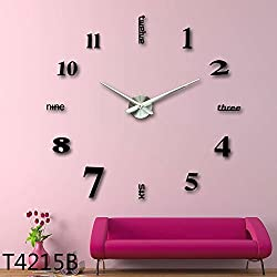 3D DIY Wall Clock, Timelike 1M Modern Frameless Large 3D DIY Wall Clock Kit Decoration Home for Living Room Bedroom (Black)