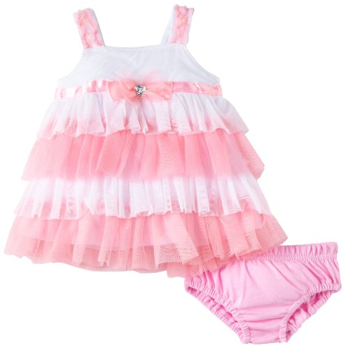 Young Hearts Baby-girls Newborn 2 Piece Dot Knit Dress And Panty, Pink, 6-9 Months
