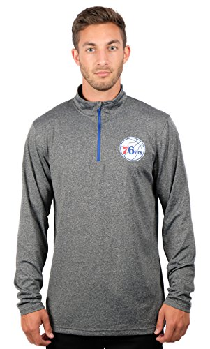 (UNK NBA Adult Men Quarter Zip Pullover Shirt Athletic Quick Dry Tee, Charcoal, Heather, Large)