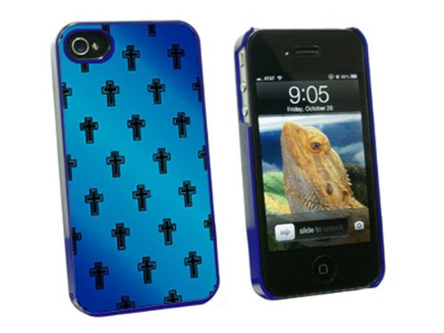 4s Cross (Graphics and More Crosses on Parade Christian Blue - Snap On Hard Protective Case for Apple iPhone 4 4S - Blue - Carrying Case - Non-Retail Packaging - Blue)