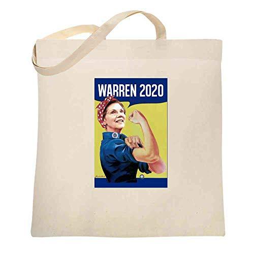Elizabeth Warren 2020 Rosie the Riveter Campaign Natural 15x15 inches Canvas Tote Bag