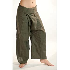 POSEIDON B:Cotton Strip Line Style for Spa, Yoga Pants (Olive Green)