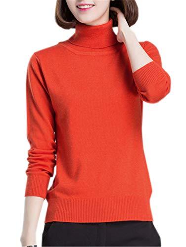 Betusline Women Fashion Basic Solid Turtleneck Sweater Pullover Orange,US 10 -