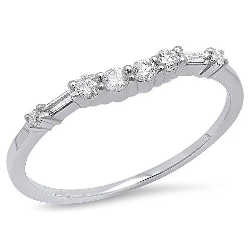 0.18 Carat (ctw) 14K White Gold Round & Baguette Cut Diamond Ladies Wedding Guard Band (Size 7.5)