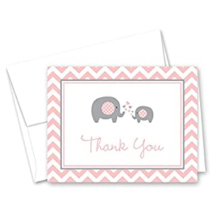50 Cnt Pink Grey Chevron Elephant Baby Thank You Cards