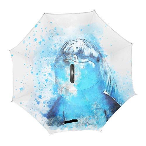 Reverse Folding Umbrella Lovely Dolphin Golf Umbrella with Reinforced Fiberglass Ribs ()