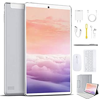 High Performance 2 in 1 Tablets, 10 inch Tablet PC, with Keyboard Mouse, Google GMS Certified, 3GB RAM 64GB Storage, 4G WiFi, Android 9.0 Quad-Core Processor, 8000 mAh, GPS, Bluetooth, OTG (Silver)