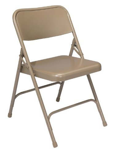 National Public Seating 200 Series Premium All-Steel Folding Chair in Beige [Set of 4] by National Public Seating