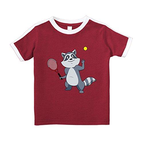 Cute Rascals Raccoon Tennis Player Animals Cotton Short Sleeve Crewneck Unisex Toddler T-Shirt Soccer Tee - Red, 2T - Football Tennis Player