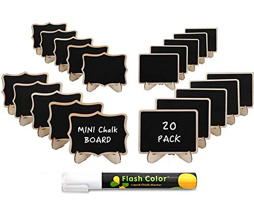 Obeda 20 PCS Mini Chalkboard Signs: Best Wooden Framed Small Blackboard with Support Easels - Perfect Place Cards, Table Numbers, Event Decorations, Message Board Signs for Weddings & Birthday Parties