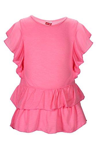 Crush Girls' Knit Slub Short Sleeve Ruffle Top, Size, 14/16, Bubble Gum Pink