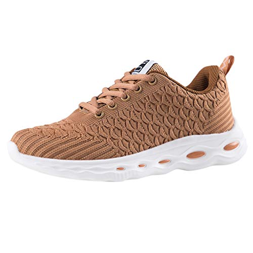 Vickyleb Running Shoes for Women Wide Width,Women's Sneakers Lightweight Walking Shoes Casual Mesh-Comfortable Running Sneakers Brown (Uk Cushions Furniture Waterproof Outdoor For)