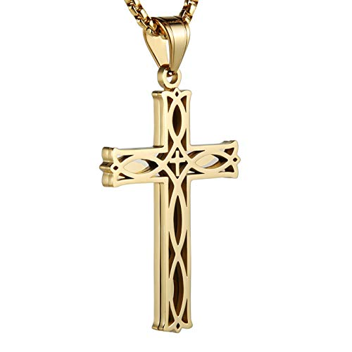 HZMAN Men's Stainless Steel Infinity Celtic Cross Irish Knot Pendant Necklace, 22+2