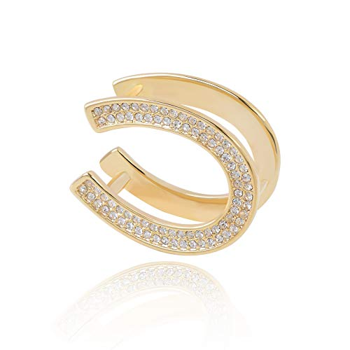 - OBONNIE Women's Simple Metal Crystal Smooth Scarf Ring Oval Horseshoe Buckle Scarves Slides Wrap Holder (Gold)