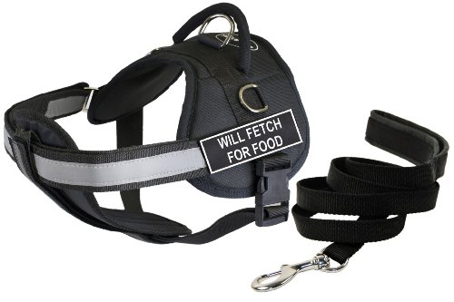 Dean & Tyler's DT Works ''WILL FETCH FOR FOOD'' Harness with Chest Padding, Large, and 6 ft Padded Puppy Leash. by Dean & Tyler