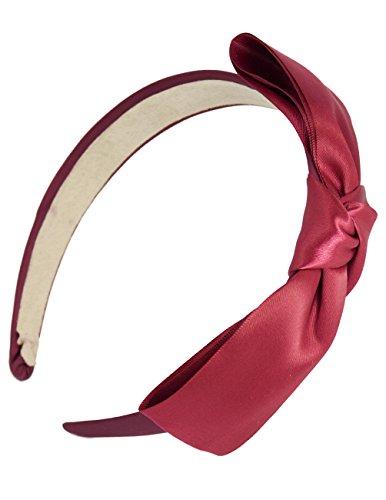 Dahlia Girl's Satin Headband - Holiday Ribbon Bow - Burgundy