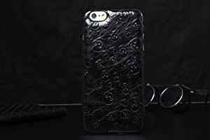 Luxury Retro Embossed Skull Patterns Genuine Cowhide Leather Cover Case For iPhone 6, Black