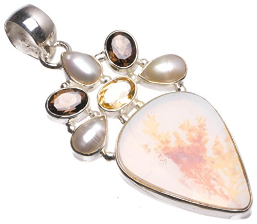 Natural Dendritic Opal,Mother of Pearl,Smoky Quartz Citrine Boho 925 Sterling Silver Pendant 2 1/4
