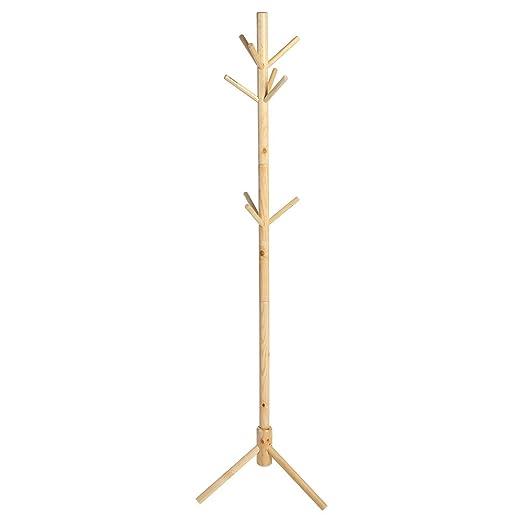 Zerone Soporte Percha, Perchero de Madera Estante de la Ropa Soporte Sombrero Chaqueta de pie con Apoyo de triángulo de 9 Ganchos 176cm de Altura ...