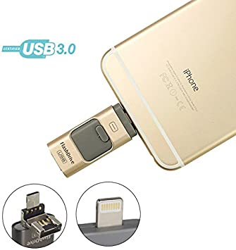 Gold 3 in 1 32GB Flash Drive Storage USB Memory Stick For Android iOS iPhone