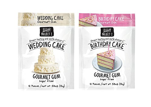 Project 7 Gourmet Gum - Birthday Cake, Wedding Cake 15g Each (2 - Project 7 Birthday Cake