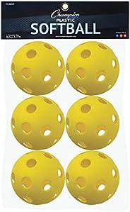 Champion Sports PLSB6R Plastic Softball, Yellow