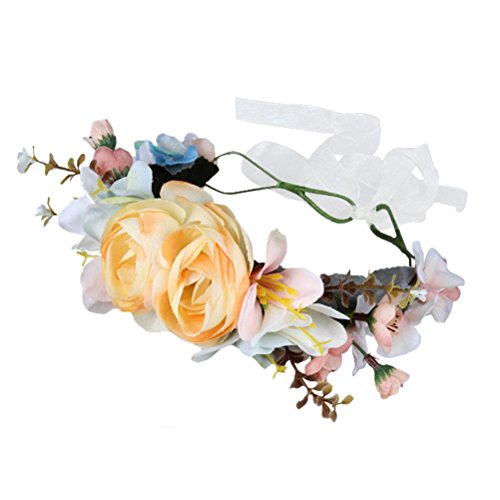 [Bueer Flower Wreath Headband Crown Floral Garland Boho for Festival Wedding (J7-Beige)] (Gold Antler Crown)