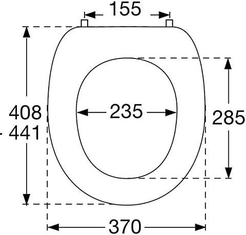 Pressalit 124273-UN3999 WC-Sitz 2000 pergamon mit Deckel und Universalscharnier (BN3)