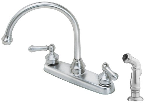 - Pfister LF8H685SS Savannah 2-Handle Kitchen Faucet with Side Spray, Stainless Steel, 1.8 gpm