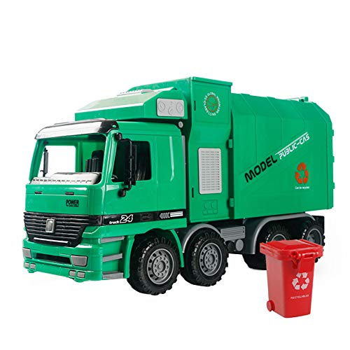 Catnew 1 Pc Garbage Truck Toy Friction Powered Recycling Garbage Truck Kids Toys with Side Loading Back ()
