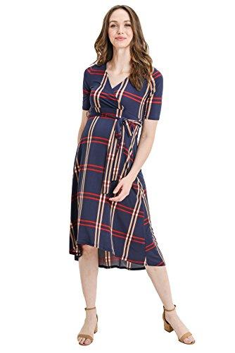 (Hello MIZ Women's High-Low Surplice Wrap Maternity Dress with Waist Belt (XL, Navy Plaid))