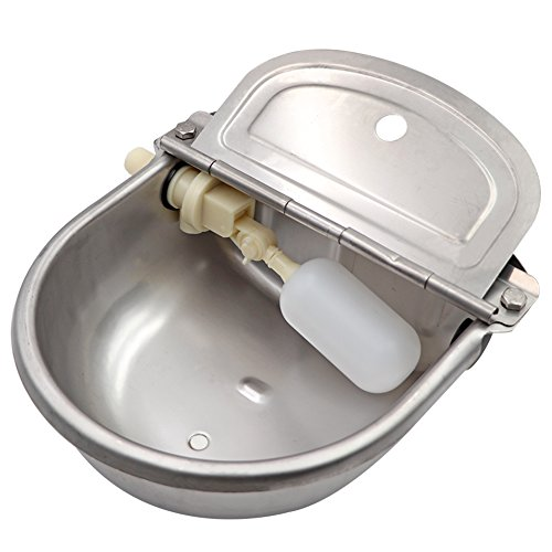 MACGOAL Stainless Steel Automatic Waterer Bowl with Float Valve Water Trough for Livestock Horse Cattle Goat Pig Waterer
