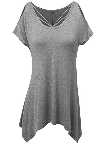 Prime Hot JayJay Women Caged Neckline Casual Cold Shoulder Short Sleeve Tunic Top,HEATHERGRAY,3XL