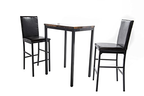 Home Source Industries 12935 Faux Counter Height Bistro Table with 2 Chairs, Black