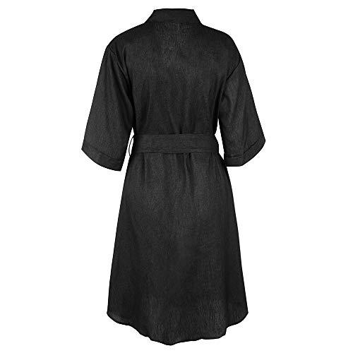 Aelegant Ceinture Col V Couleur Jean Sexy en Longue Unie Robe avec Automne Femme Noir Manche FrxqFH