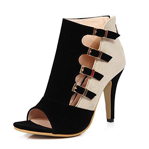 Femmes Classique Peep Toe Stiletto Sandales Satin High Heels Boucle Gladiateur Chaussures De Fête De Mariage Black BhBqkzqNx9