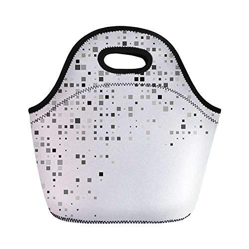 Grey Decor Durable Lunch Bag,Digital Pattern Composed of Geometric Elements Radiant Rectangle Parallel Picture for School Office,11.0