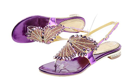 Flat Sandals purple pu 02 Classic Design Rhinestone Thong Fashion Buckle Women's xR7AY6wqTA